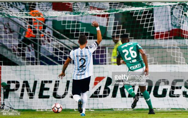 Yerry Mina of Palmeiras of Brazil scores his team's fiirst goal during the match between Palmeiras and Atletico Tucuman for the Copa Bridgestone...