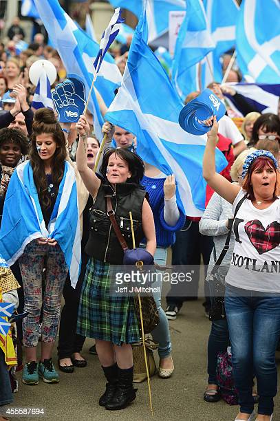Yes activists gather in George Square on September 17 2014 in GlasgowScotlandThe referendum debate has entered its final day of campaigning as the...