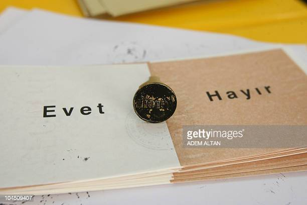'Yes' and 'No' ballots are seen at a polling station in Ankara on September 12 2010 during a referendum on constitutional changes Turks voted on...