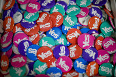 Yes badges are displayed in a Yes campaign shop on August 28 2014 in Alexandria Scotland In less than a month voters will go to the polls to vote yes...