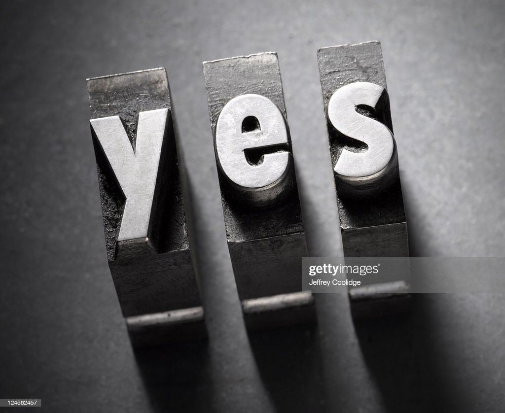 Yes Letterpress Type : Stock Photo
