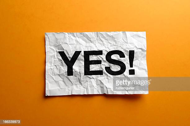 Yes sign on creased paper