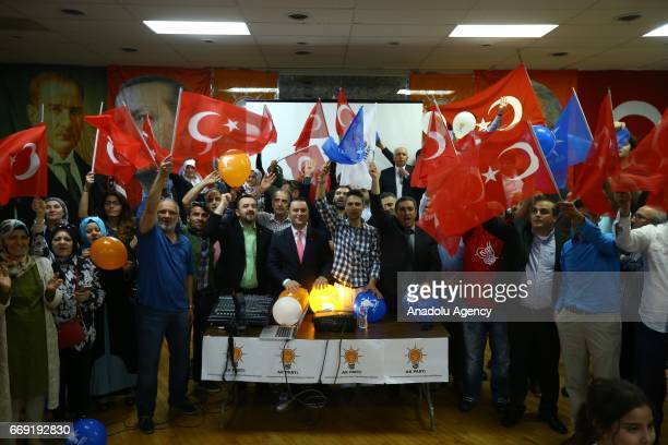 'Yes' supporters celebrate their victory following the unofficial preliminary results of Turkeys constitutional referendum show 'Yes' votes ahead of...