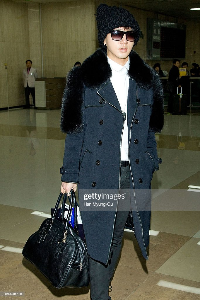 Yesung of South Korean boy band Super Junior KRY is seen at Gimpo International Airport on January 25, 2013 in Seoul, South Korea.