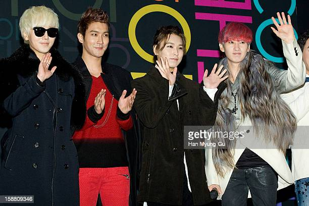Yesung Siwon Sungmin and Eunhyuk of South Korean boy band Super Junior arrive at the 2012 SBS Korea Pop Music Festival named 'The Color Of KPop' at...
