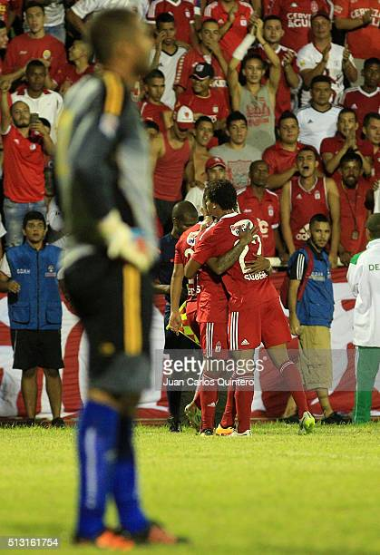Yesus Cabrera of America de Cali celebrates with his teammates after scoring the fifth goal of his team during a match between Orsomarso and America...