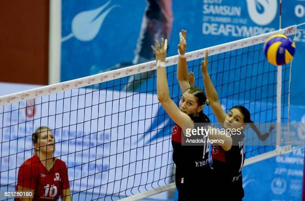 Yeter Yalcin of Turkey in action against Maria Klassen of Canada during a volleyball match between Turkey and Canada within the 23rd Summer...