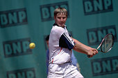 Yevgeni Kafelnikov prepares to hit a backhand stroke during a match at the 1996 French Open