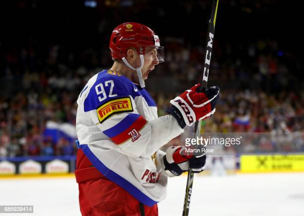 Yevgeni Kuznetsov of Russia celebrates after e scores the opening goal during the 2017 IIHF Ice Hockey World Championship semi final game between...