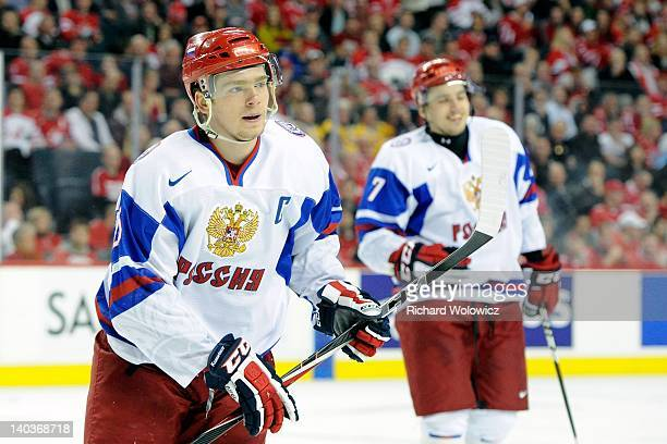 Yevgeni Kuznetsov of Team Russia skates during the 2012 World Junior Hockey Championship Semifinal game against Team Canada at the Saddledome on...