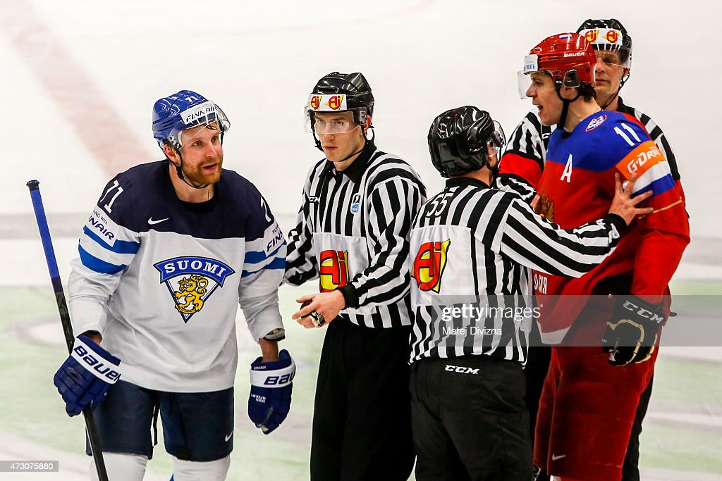 Yevgeni Malkin (R) of Russia argues with Leo Komarov (L) of Finland during the IIHF World Championship group B match between Finland and Russia at CEZ Arena on May 12, 2015 in Ostrava, Czech Republic.
