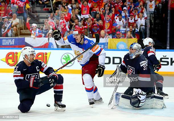 Yevgeni Malkin of Russia celebrates his team's opening goal during the IIHF World Championship semi final match between USA and Russia at O2 Arena on...