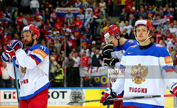 Yevgeni Malkin of Russia looks dejected after losing the IIHF World Championship gold medal match between Canada and Russia at O2 Arena on May 17...