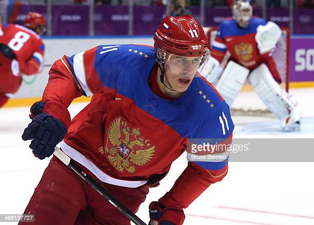 Yevgeni Malkin of Russia warms up prior to the Men's Ice Hockey Preliminary Round Group A game against Slovenia on day six of the Sochi 2014 Winter...