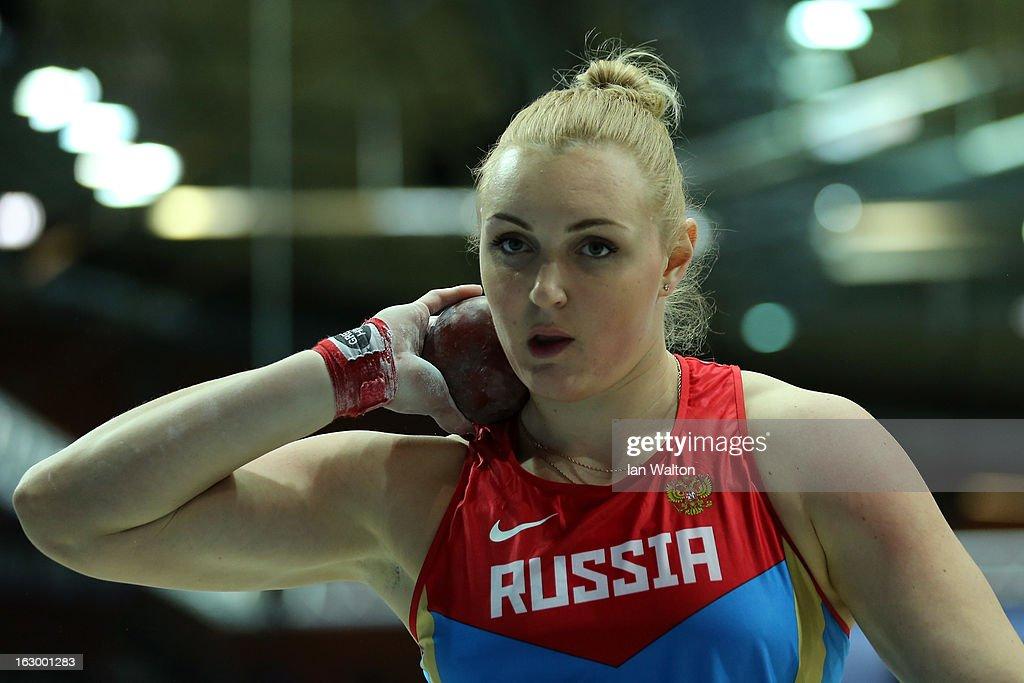 Yevgeniia Kolodko of Russia competes in the Women's Shot Put Final during day three of European Indoor Athletics at Scandinavium on March 3, 2013 in Gothenburg, Sweden.