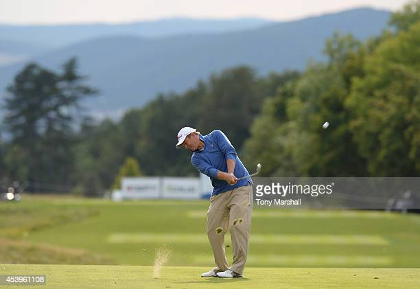 Yevgeny Kafelnikov of Russia plays his second shot on the 5th fairway during day two of DD REAL Czech Masters at Albatross Golf Resort on August 22...