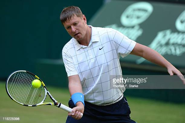 Yevgeny Kafelnikov plays a forehand during the Warsteiner Champions Trophy of the Gerry Weber Open at the Gerry Weber stadium on June 4 2011 in Halle...