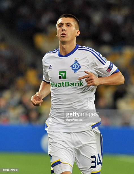 Yevhen Khacheridi of FC Dynamo Kyiv in action during the UEFA Champions League group stage match between FC Dynamo Kyiv and GNK Dinamo Zagreb at the...