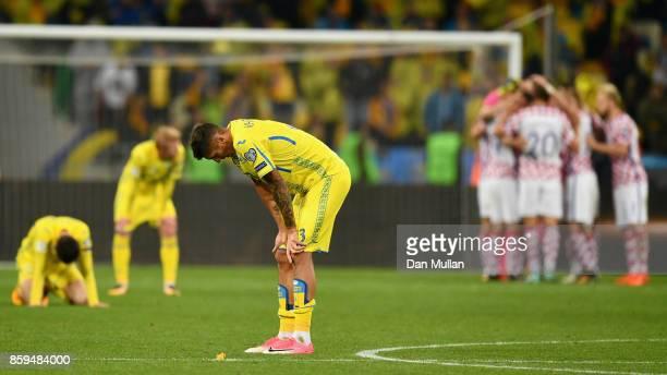 Yevhen Khacheridi of Ukraine looks dejected in defeat after the FIFA 2018 World Cup Group I Qualifier between Ukraine and Croatia at Kiev Olympic...