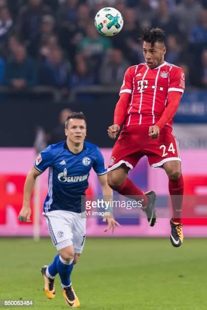 Yevhen Konoplyanka of FC Schalke 04 Corentin Tolisso of FC Bayern Munich during the Bundesliga match between Schalke 04 and Bayern Munich on...