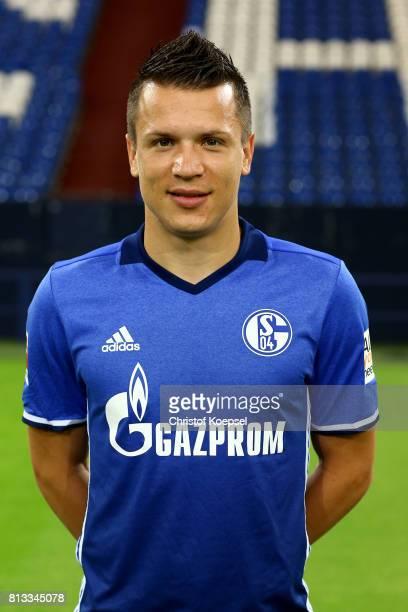 Yevhen Konoplyanka of FC Schalke 04 poses during the team presentation at Veltins Arena on July 12 2017 in Gelsenkirchen Germany