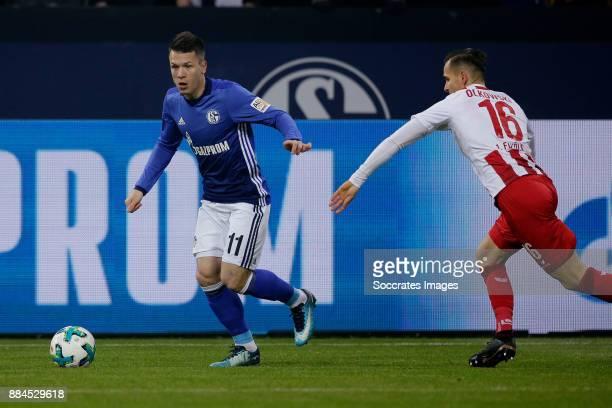 Yevhen Konoplyanka of Schalke 04 Pawel Olkowski of FC Koln during the German Bundesliga match between Schalke 04 v 1 FC Koln at the Veltins Arena on...