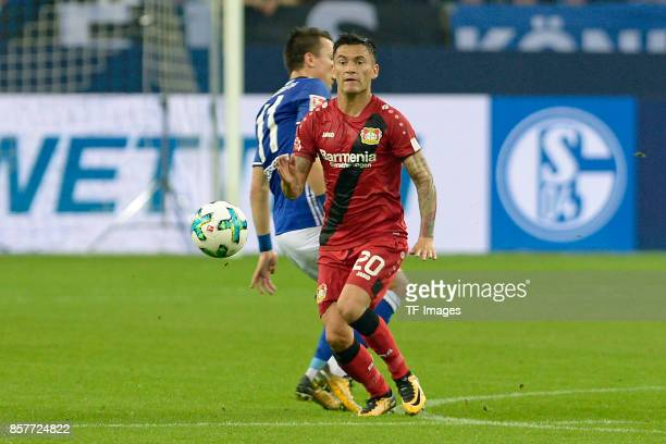 Yevhen Konoplyanka of Schalke and Charles Aranguiz of Leverkusen battle for the ball during the Bundesliga match between FC Schalke 04 and Bayer 04...