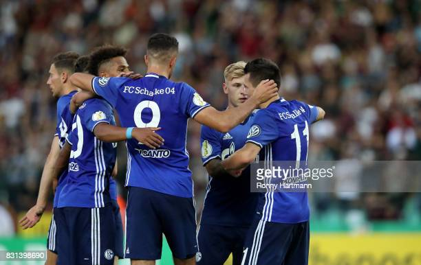 Yevhen Konoplyanka of Schalke celebrates after scoring his team's second goal with team mates during the DFB Cup first round match between BFC Dynamo...