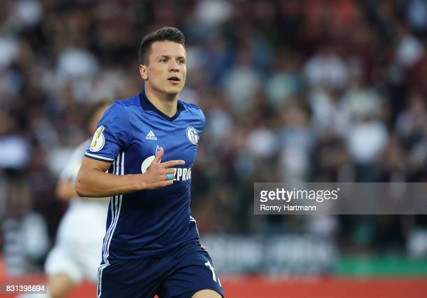 Yevhen Konoplyanka of Schalke celebrates after scoring his team's opening goal during the DFB Cup first round match between BFC Dynamo and FC Schalke...