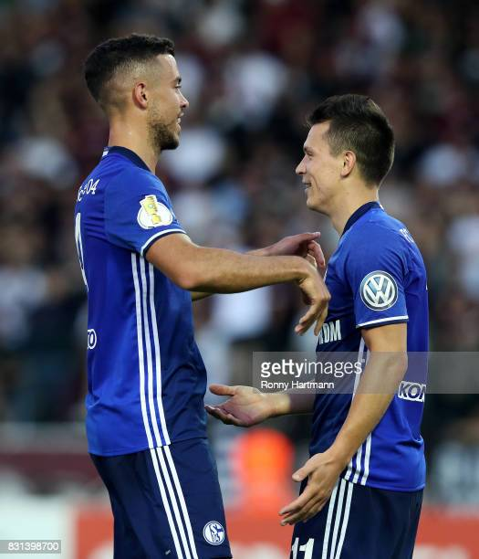 Yevhen Konoplyanka of Schalke celebrates after scoring his team's second goal with Franco di Santo of Schalke during the DFB Cup first round match...