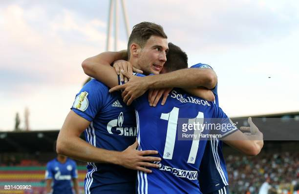 Yevhen Konoplyanka of Schalke celebrates after scoring his team's opening goal with Leon Goretzka of Schalke during the DFB Cup first round match...