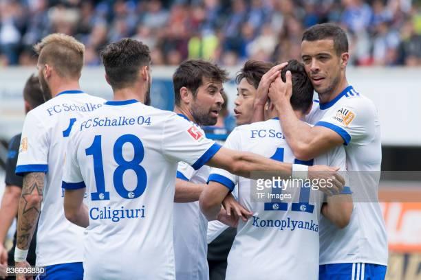 Yevhen Konoplyanka of Schalke celebrates after scoring his team`s first goal during the preseason friendly match between SC Paderborn and FC Schalke...