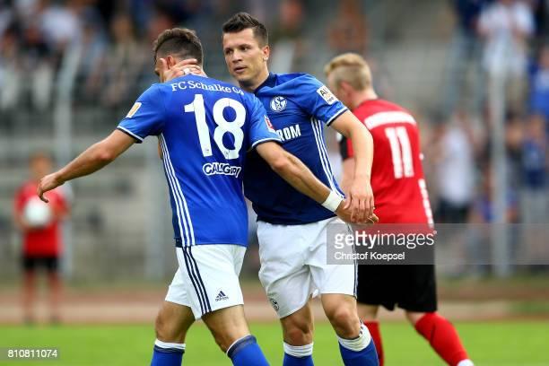 Yevhen Konoplyanka of Schalke celebrates the third goal with Daniel Caligiuro during the preseason friendly match between SpVgg Erkenschwick and FC...