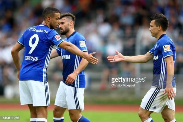 Yevhen Konoplyanka of Schalke celebrates the third goal with Franco Di Santo of Schalke during the preseason friendly match between SpVgg...