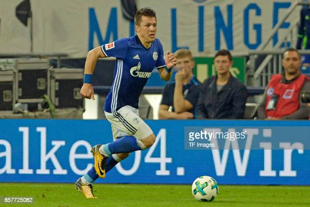 Yevhen Konoplyanka of Schalke controls the ball during the Bundesliga match between FC Schalke 04 and Bayer 04 Leverkusen at VeltinsArena on...