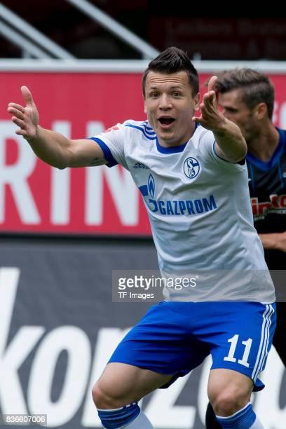 Yevhen Konoplyanka of Schalke gestures during the preseason friendly match between SC Paderborn and FC Schalke 04 at BentelerArena on July 15 2017 in...