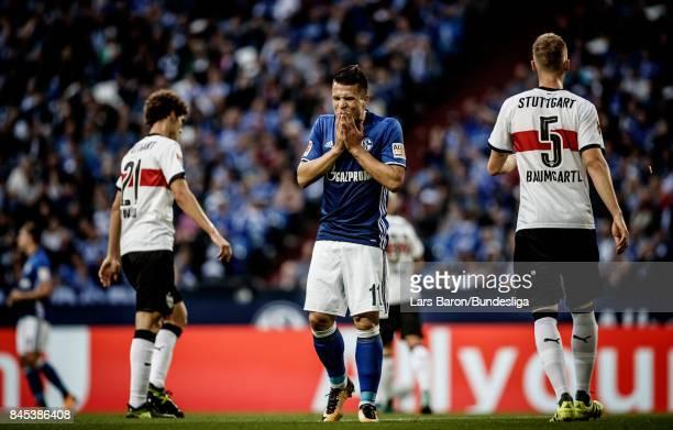 Yevhen Konoplyanka of Schalke goes uo for a header during the Bundesliga match between FC Schalke 04 and VfB Stuttgart at VeltinsArena on September...