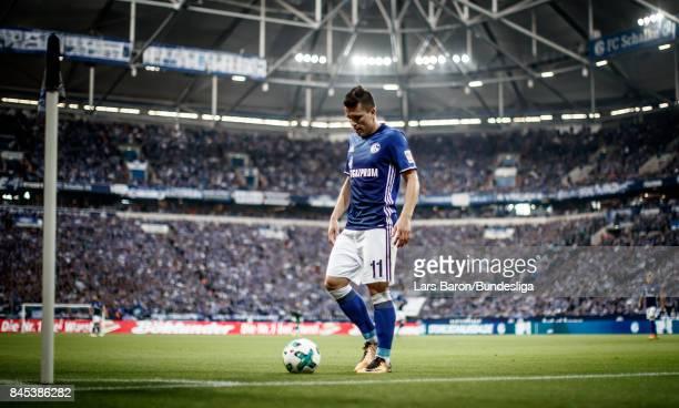 Yevhen Konoplyanka of Schalke is seen during the Bundesliga match between FC Schalke 04 and VfB Stuttgart at VeltinsArena on September 10 2017 in...
