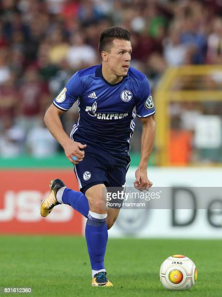 Yevhen Konoplyanka of Schalke runs with the ball during the DFB Cup first round match between BFC Dynamo and FC Schalke 04 at...