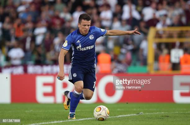 Yevhen Konoplyanka of Schalke scores his team's opening goal during the DFB Cup first round match between BFC Dynamo and FC Schalke 04 at...