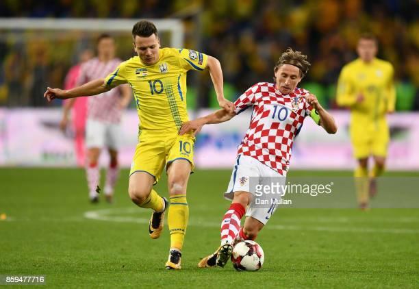 Yevhen Konoplyanka of Ukraine and Luke Modric of Croatia battle for possession during the FIFA 2018 World Cup Group I Qualifier between Ukraine and...