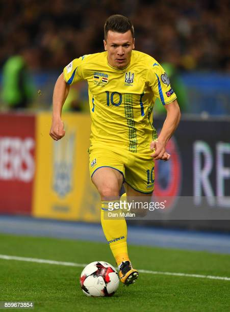 Yevhen Konoplyanka of Ukraine controls the ball during the FIFA 2018 World Cup Qualifier Group I match between Ukraine and Croatia at Kiev Olympic...
