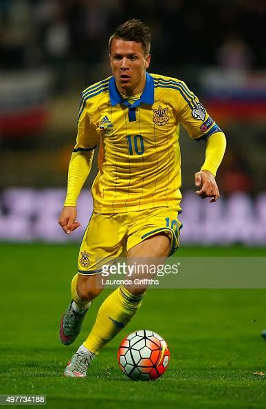 Yevhen Konoplyanka of Ukraine in action during the UEFA EURO 2016 qualifier playoff second leg match between Slovenia and Ukraine at Ljudski Vrt...