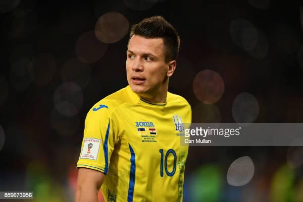 Yevhen Konoplyanka of Ukraine looks on during the FIFA 2018 World Cup Qualifier Group I match between Ukraine and Croatia at Kiev Olympic Stadium on...