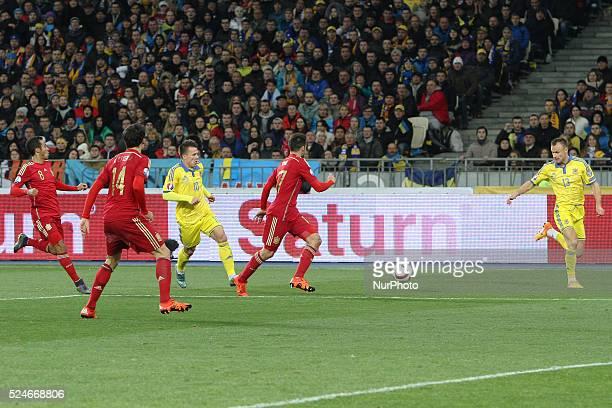 Yevhen Konoplyanka of Ukraine national team vies during the European Qualifiers 2016 match between Ukraine and Spain national teams at NSK...