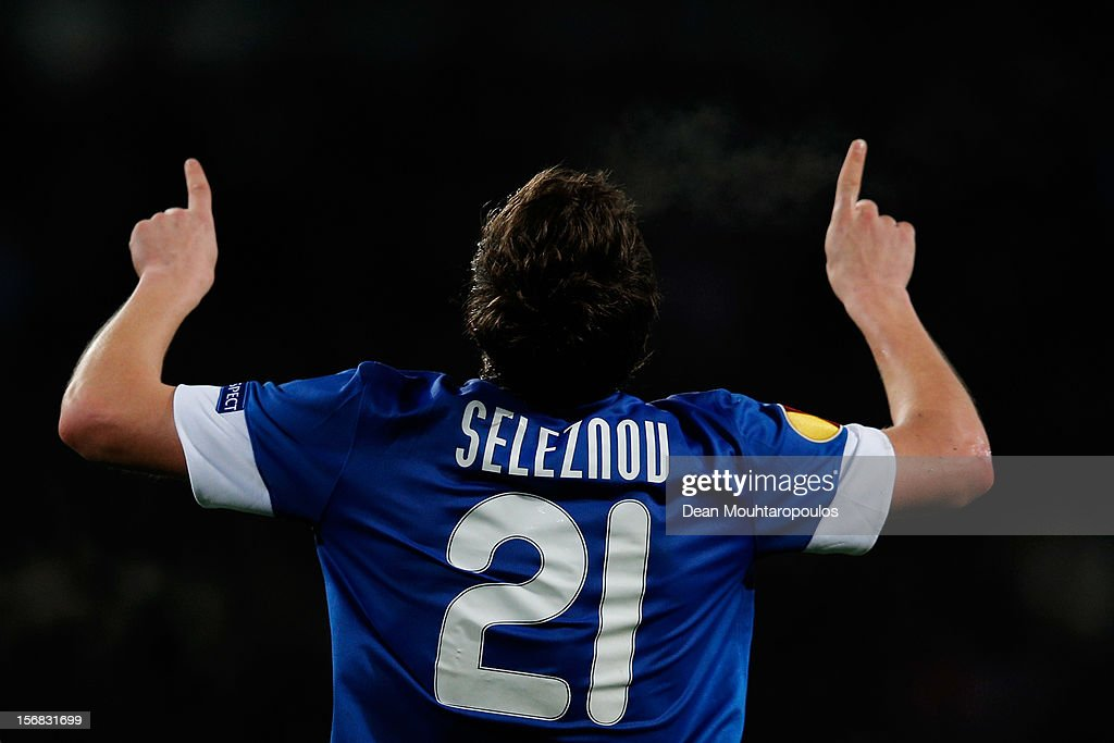 Yevhen Seleznyov of Dnipro celebrates scoring his teams first goal of the game during the UEFA Europa League Group F match between PSV Eindhoven and FC Dnipro Dnipropetrovsk at the Philips Stadion n November 22, 2012 in Eindhoven, Netherlands.