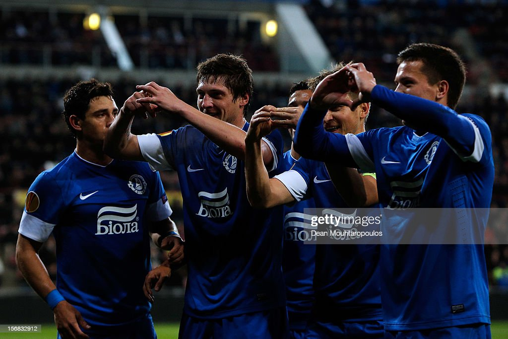 Yevhen Seleznyov (2nd from L) of Dnipro celebrates scoring his teams first goal of the game with team mates during the UEFA Europa League Group F match between PSV Eindhoven and FC Dnipro Dnipropetrovsk at the Philips Stadion n November 22, 2012 in Eindhoven, Netherlands.