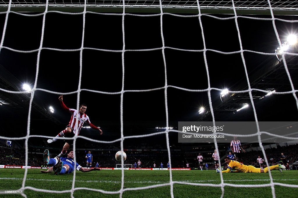 Yevhen Seleznyov of Dnipro slides and scores his teams first goal of the game during the UEFA Europa League Group F match between PSV Eindhoven and FC Dnipro Dnipropetrovsk at the Philips Stadion n November 22, 2012 in Eindhoven, Netherlands.