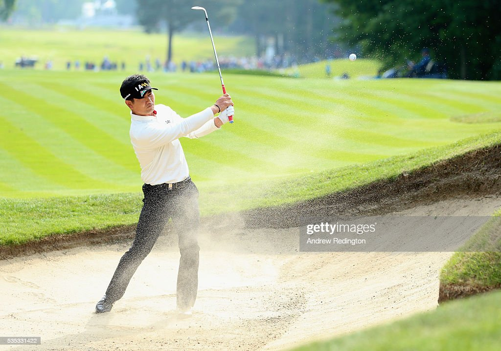 Yang of Korea hits from a bunker on the 16th hole during day four of the BMW PGA Championship at Wentworth on May 29, 2016 in Virginia Water, England.