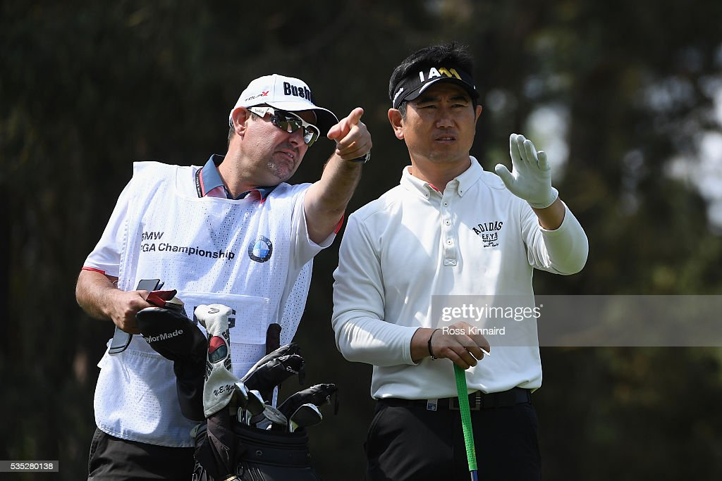 Yang of Korea lines up on the 8th hole during day four of the BMW PGA Championship at Wentworth on May 29, 2016 in Virginia Water, England.